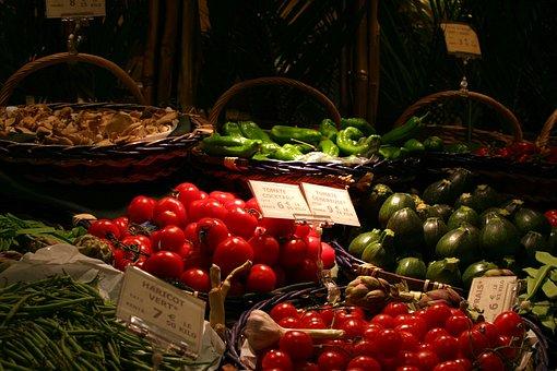 Market, Fruit, Food, Basket, Production, Mart, Tomato