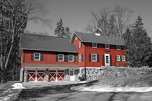 House, Red, Home, Residential, Building, Winter