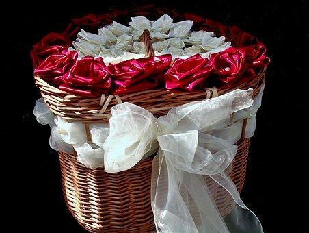 Basket, The Ribbon, Flowers, Roses