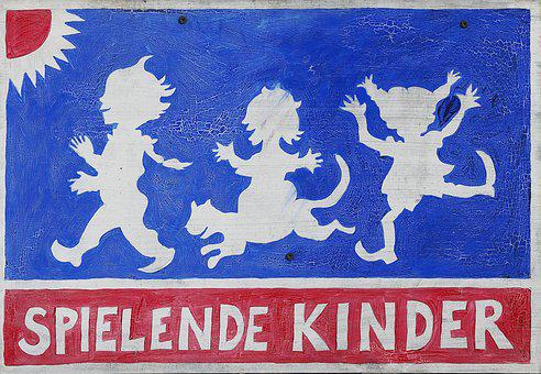Shield, Warning, Note, Children Playing, Old Sign