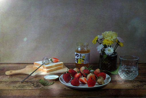 Table, Food, Wood, Glass, Wooden, Fruit, Still Life