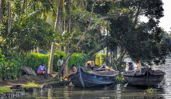 Villagers, Talking, Backwaters, Wooden, Boats, Alleppey