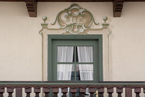 House, Balcony Door, Balcony, Wood Railings, Ornament