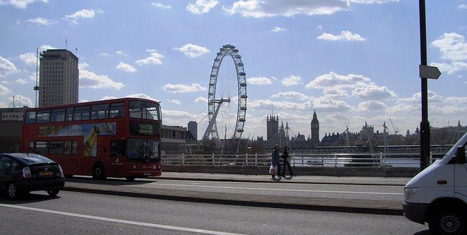 London Eye, London, England, Architecture, Water