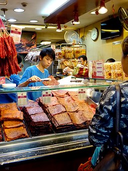 Singapore, Chinatown, Barbecue Sliced Pork, 肉干