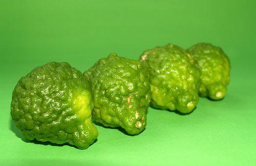 Bergamot, Fruit, Leaf, Isolated, Thailand, Rough, Lemon