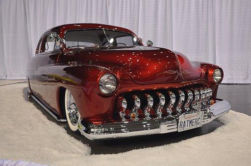 Oldtimer, Car, Vehicle, Mercury 1950, 1950, Red, Chrome