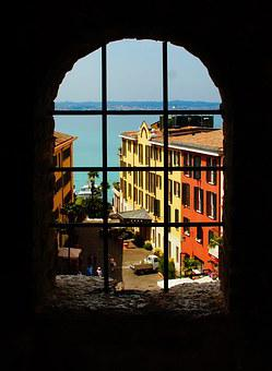 Sirmione, Window, Castle, Water, Building, Stone