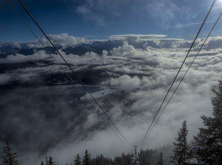 Mountain, Clouds, Landscape, Fog, Sky, Forest, Blue