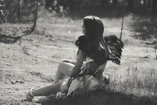 Girl, Costume, Angel Wings, Teenager, Backside, Looking