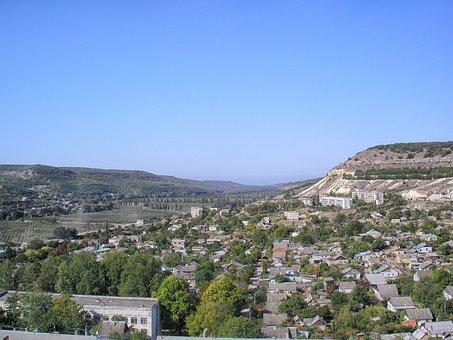 Sevastopol, Crimea, Village, Buildings, Mountains, Sky