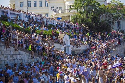 Crowd, Pandemonium, Onlookers, Audience, Crimea, Summer