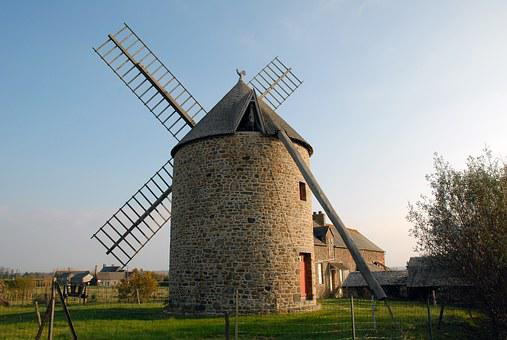 Wind Mill, France, Normandy, Stone, Farm, Historic