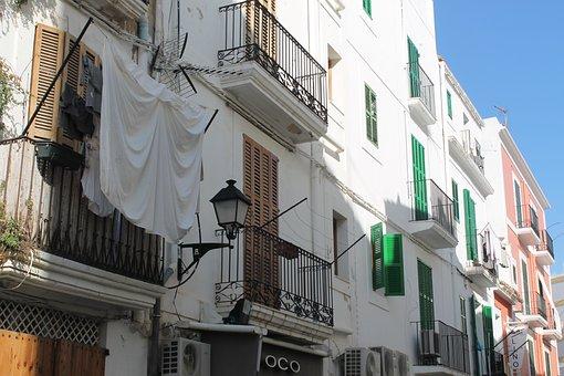 Ibiza, White, Home, Wash, Balcony, Hang, City, Alley