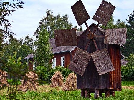 Windmill, Harvest, Corn, House, Wooden, Wings, Fan