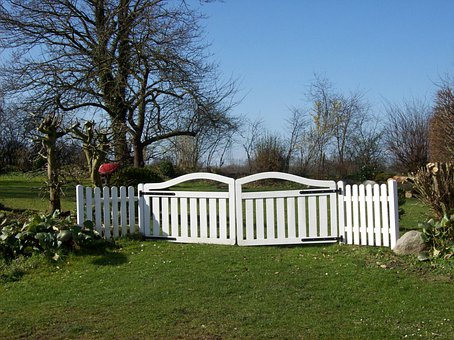 Garden Gate, Fence, Paling, Land, On The Land, White