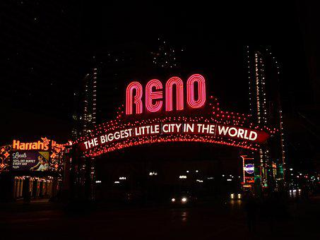 Reno, Nevada, Sign, City, Travel, America, Usa