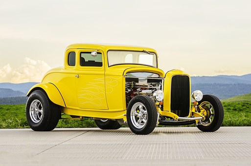 Classic Car, Muscle Car, Old Car, Yellow, Canary Yellow
