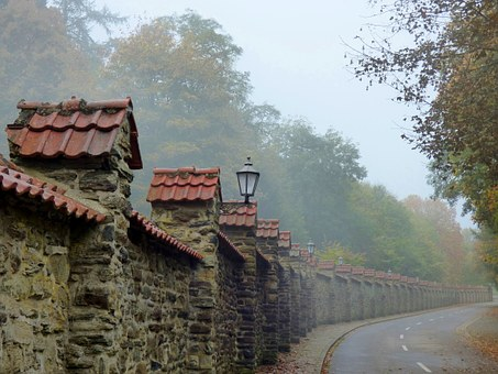 Fog, Abbey, Clervaux, Old Wall, Enchanted Atmosphere