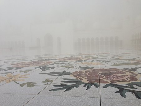 Fog, Flowers, Moshe, Abu Dhabi, Mosaic, Ground, Pattern