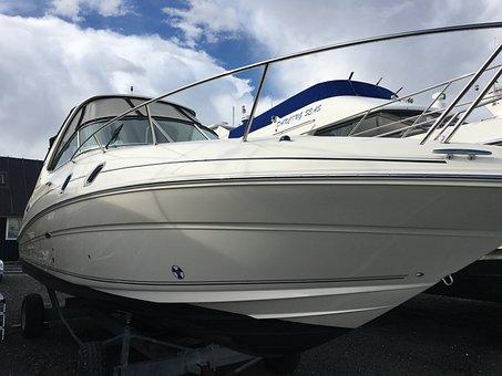 Pleasure Boat On Land, Sportscruser, Motorboat