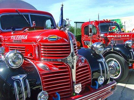 Truck, Vintage Truck, Old Timer, Ford, Dodge, Red