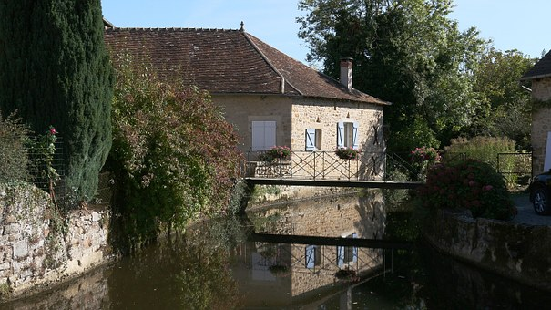 Water Courses, Reflections, River, Reflection, House