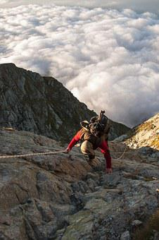 Mountaineer, Climb, Mountain, Steep, Rock, Exposed