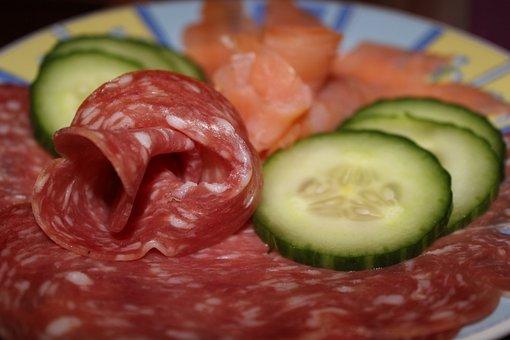 Wurstplatte, Salami, Salmon, Cucumber, Food, Sausage
