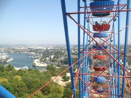 Crimea, Sevastopol, Ferris Wheel, View, Summer, Bay