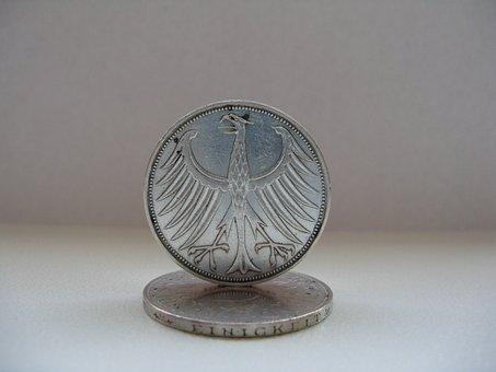 German Mark, Dm, Silver, Specie, Coins, Metal