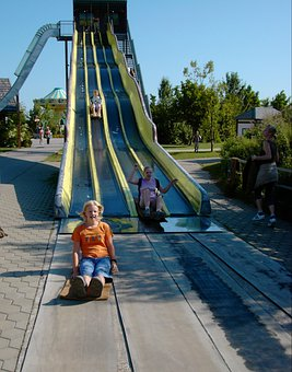 Slide, Slip, Girl, Children, Playground, Fun, Sky, Blue