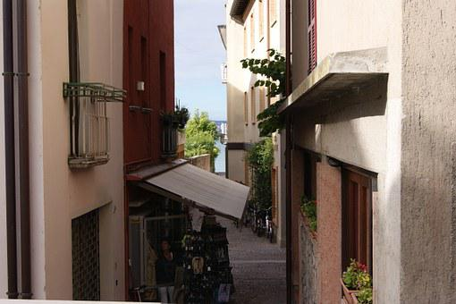 City, Old, Sirmione, Narrow, Street, Local Shops