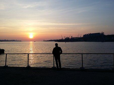 Crimea, Sevastopol, Sunset, Man, Silhouette, Evening