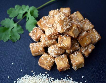 Tofu, Sesame, Flat, Food, Kitchen, Asian, Vegetarian