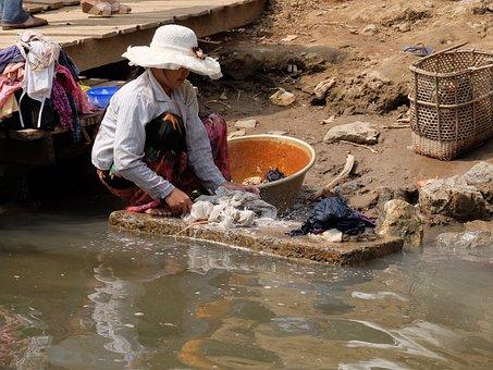 Burma, River, Water, Highlights, Work, Washing Clothes