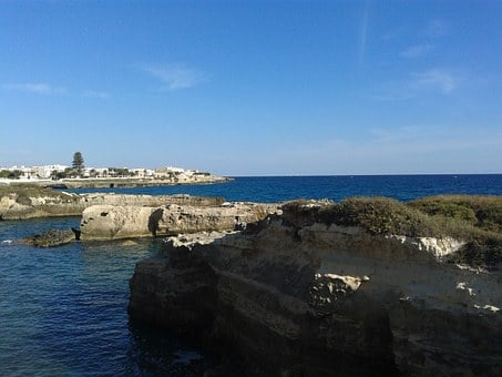 Holidays, August, Puglia, Water, Stones, Cliffs, Rocks