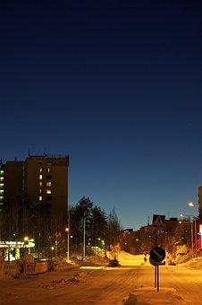 Winter, Sun Down, Glow, Deep Blue, Blue, Orange, Road