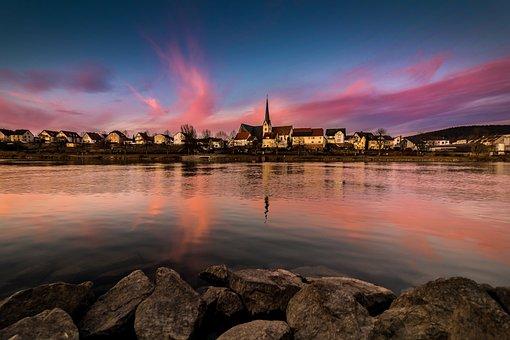 Germany, Landscape, Sunset, Weather Mood, Abendstimmung