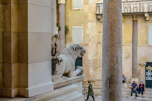 Egyptian, Ancient, Lion, Stone, Croatia, Split, Palace