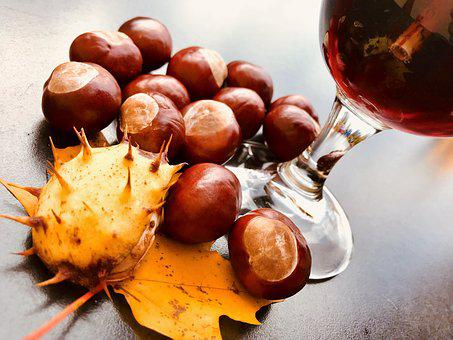 Chestnuts, Autumn, Still Life With Chestnuts, Wine
