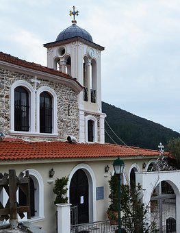 Greek Church, Cross, Tile Roof, Bell Tower, Worship