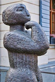 Sculpture, Statue, Art, Woman, Bronze, Figure, Strong