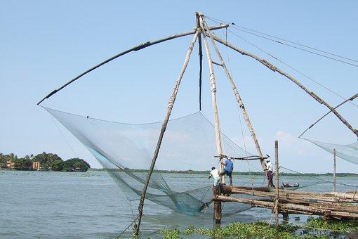 Water, Sky, Fishing, Chinese Fishing Nets, South India