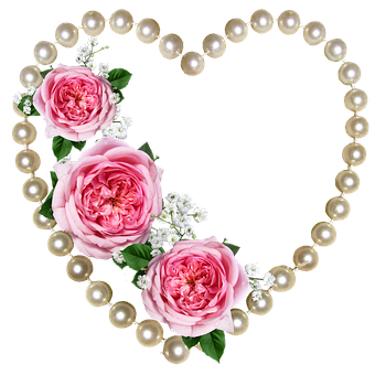 Heart, Pearls, Roses, Decoration, Valentine, Romantic