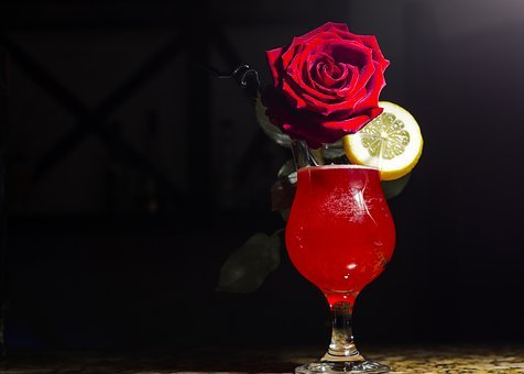 Background, Drink, Cocktail, Flowers, Red
