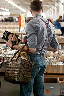Male, Market, Adult, Man, Man Buying, Man Reading