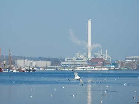 Winter, Flensburg, Port, Power Plant, Mood, Waters