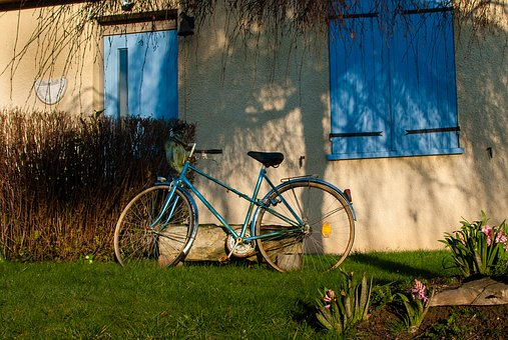 House, Pane, Bike, Blue, Window, Colorful Houses