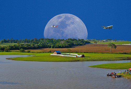 Moon, Rural, Imagination, Outdoors, Panoramic